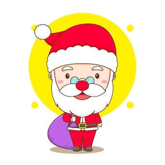 Cute santa claus chibi cartoon character