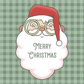 かわいいサンタクロースのクリスマスカードと市松模様のシームレスなパターン