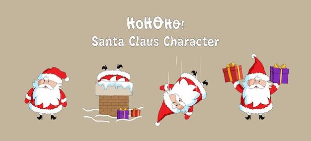 귀여운 산타 클로스 크리스마스 문자 컬렉션 플랫.