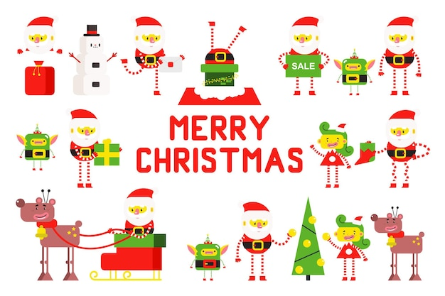 Cute santa claus, christmas tree, reindeer, elf, girl and snowman. vector cartoon character set isolated on white background.