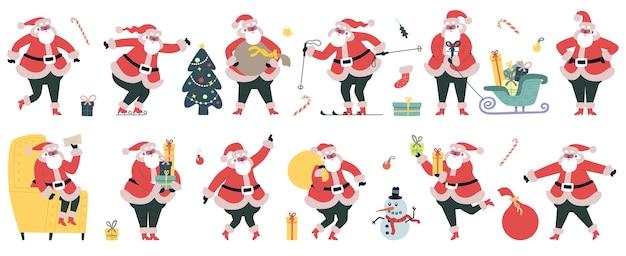 Cute santa claus. christmas winter holidays characters, cheerful santa with gifts vector illustration set. funny christmas mascot. christmas merry, character claus greeting