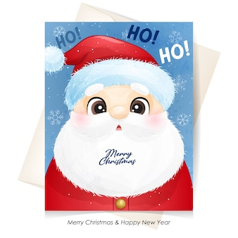 Cute  santa claus for christmas with watercolor illustration