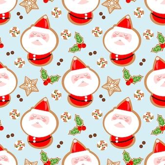 Cute santa claus cookies seamless pattern.