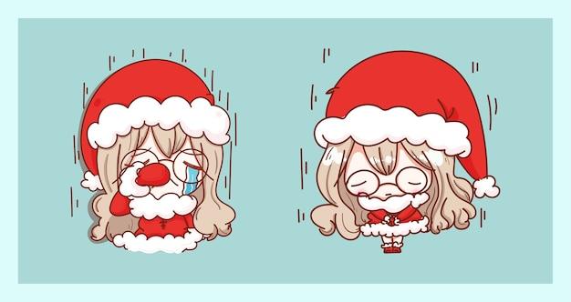 キャラクターのデザインでメリークリスマスの背景に孤立して泣いて悲しいかわいいサンタクロース。