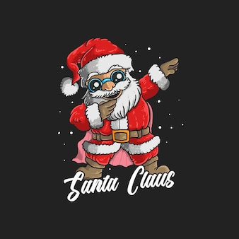 Cute santa claus dabbing dance illustration graphic