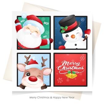 かわいいサンタクロース、鹿、雪だるまのクリスマスカード水彩画