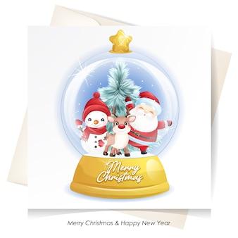수채화 카드와 함께 크리스마스 귀여운 산타 클로스, 사슴과 눈사람