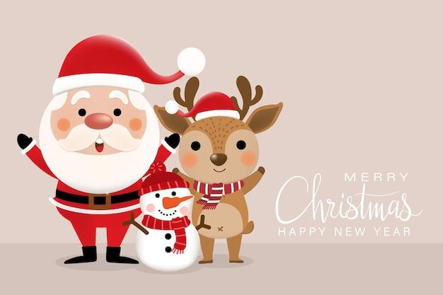 Cute santa claus deer and snowman