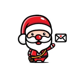 편지를 배달하는 귀여운 산타 클로스