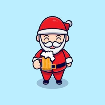 Cute santa claus drinking beer mascot cartoon  illustration.