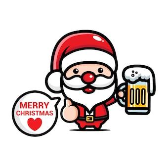 Cute santa claus drinking beer