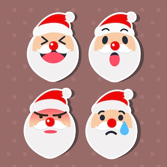 Cute santa claus emoticon set