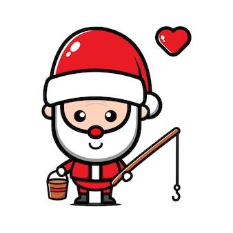 Симпатичные санта-клауса рыбалка иллюстрации шаржа. рождественская концепция