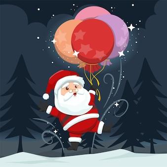 Милый санта-клаус летать с воздушными шарами