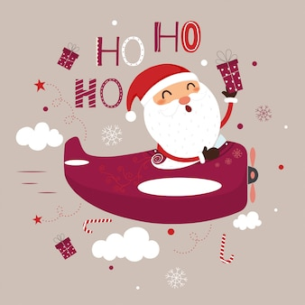 Cute santa claus flying plane and dropping gifts.