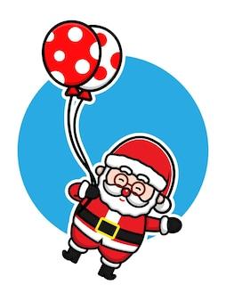 Cute santa claus flying with balloon cartoon vector christmas concept illustration