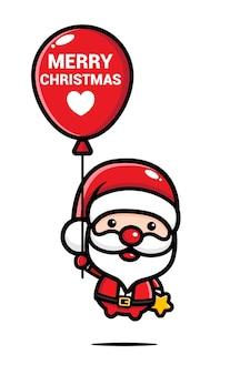 풍선 비행 귀여운 산타 클로스
