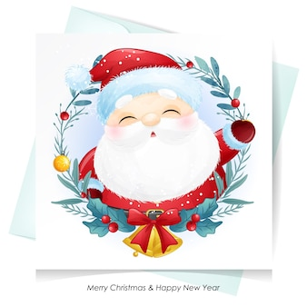 水彩カードでクリスマスのかわいいサンタクロース