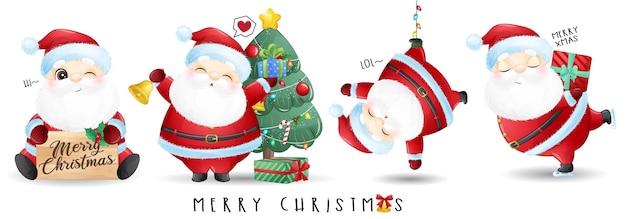 메리 크리스마스 일러스트 세트에 대한 귀여운 산타 클로스