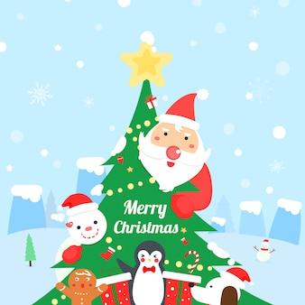 Cute santa claus and friend cartoon vector.merry christmas card.