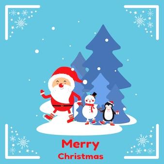 Cute santa claus and friend cartoon vector.
