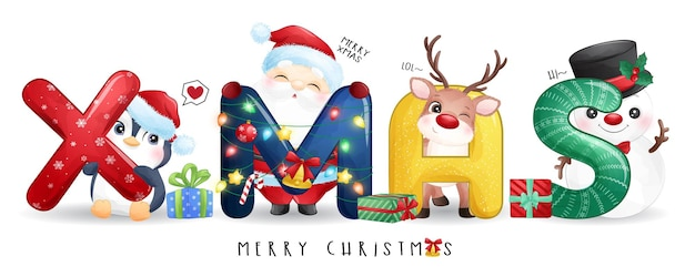 Cute santa claus and friends for merry christmas illustration