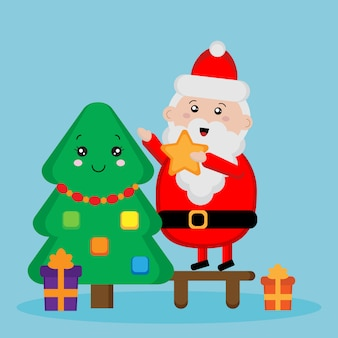 Cute santa claus and fur tree, cute santa claus and fur tree