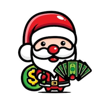 돈을주는 귀여운 산타 클로스