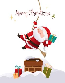 かわいいサンタクロースは家の屋根の上の煙突を降りるクリスマスカードの背景ベクトル
