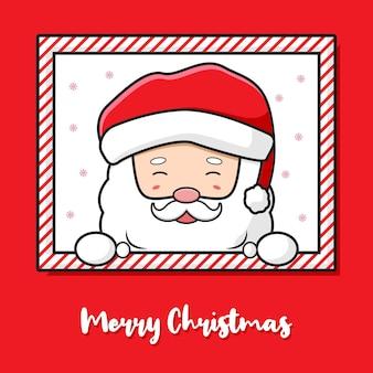 Cute santa claus greeting merry christmas cartoon doodle card background illustration design