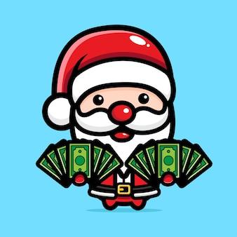 돈을 나눠주는 귀여운 산타클로스