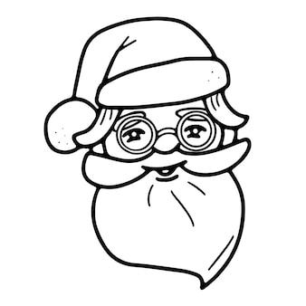 Милая голова санта-клауса в шляпе и очках