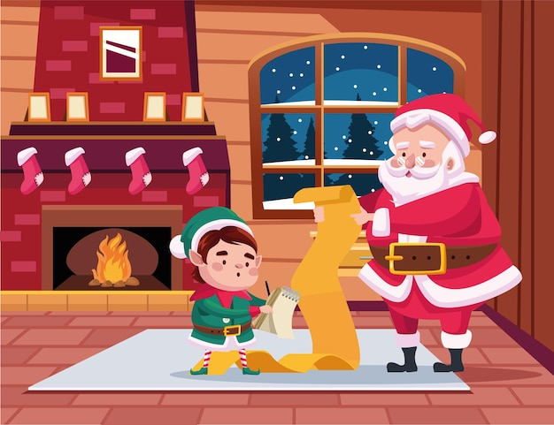 Cute santa claus and helper reading gifts list scene illustration