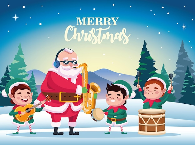 Cute santa claus and helpers playing instruments scene illustration