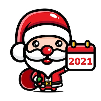 2021년 달력을 들고 있는 귀여운 산타클로스
