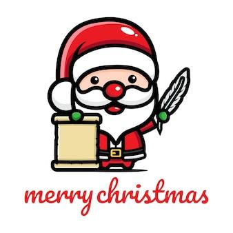 목록을 들고 귀여운 산타 클로스