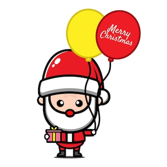 Cute santa claus holding balloons