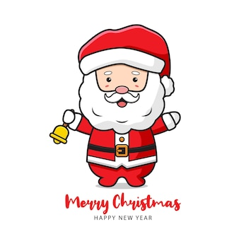 Cute santa claus holding bell greeting merry christmas and happy new year cartoon doodle card background illustration flat cartoon style