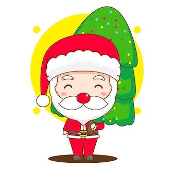 Милый санта-клаус держит рождественскую елку чиби персонаж иллюстрации