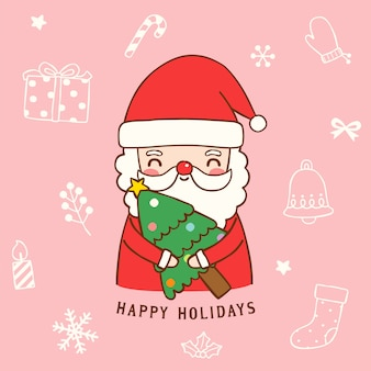 Cute santa claus holding christmas tree in flat style