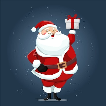 Cute santa claus holding gift box illustration