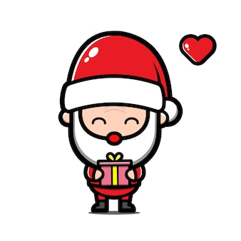 Cute santa claus holding a gift cartoon illustration
