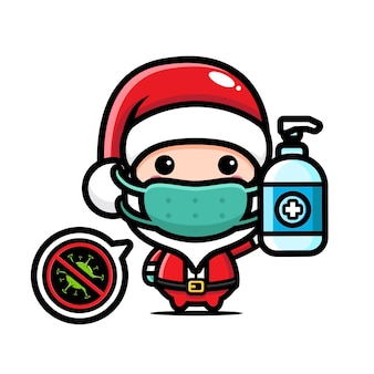 액체 비누를 들고 귀여운 산타 클로스