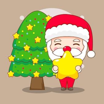 Cute santa claus holding star with christmas tree chibi cartoon character