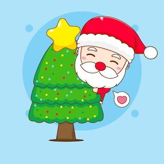 Cute santa claus hugging christmas tree chibi cartoon character