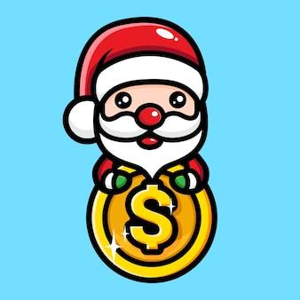 달러 동전을 껴안고 귀여운 산타 클로스