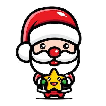 귀여운 산타 클로스 포옹 별