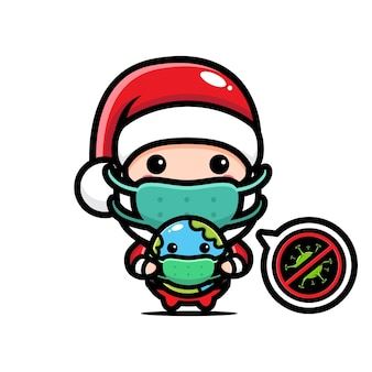 지구를 안고 귀여운 산타 클로스