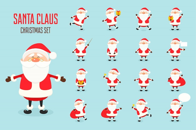 Cute santa claus icon set in flat style, christmas collection, xmas character in different poses. funny santa with different emotions.