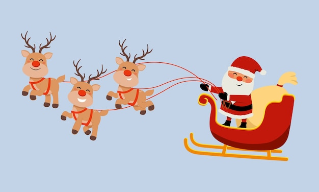 Cute santa claus image riding reindeer sleigh. merry christmas clip art. flat vector isolated.